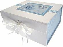 WHITE COTTON CARDS blau Bunny Welsh Baby/bachgen