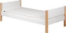 White - Einzelbett  - 190 cm - Weiß / Birke