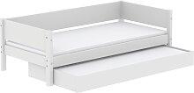 White - Einzelbett mit Ausziehbett - 190 cm - Weiß