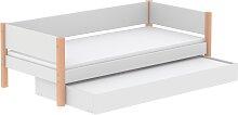 White - Einzelbett mit Ausziehbett - 200 cm - Birke
