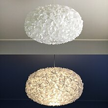 White Fluffy II, Lampe Leuchte Lampenschirm Pendelleuchte Pendellampe Hängeleuchte Hängelampe Papierleuchte Papierlampe Reispapierlampe Designerlampe Wohnzimmerlampe Schlafzimmerlampe Deckenlampe Blüten Kugel Pendel Papier