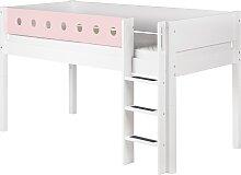White - Halbhohes Bett - 200 cm - Weiß/ Rosa