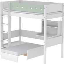 White - Hochbett mit Sofabett - 200 cm - Weiß/ Mint