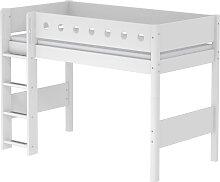 White - Mittelhohes Bett mit Leiter - 190 cm - Weiß