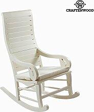 White Teak Rocking Chair By Craften Wood