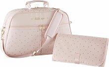 Wickeltasche, rosa mit goldenen Punkten