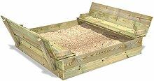 WICKEY Sandkasten Holz Sandkiste mit Klappdeckel