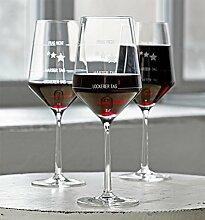 Wie war Dein Tag-Weingläser, 6 Stück, das Original (Rot-/Weißweinglas, Geschenkidee, Muttertagsgeschenk, Geburtstagsgeschenk, Weihnachtsgeschenk, Geschenk für Sie/Ihn, Muttertag, Vatertag, Gag