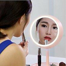 Wiederaufladbare LED Make-up Make-up Spiegel Schlafzimmer Bett Make-up Spiegel , pink