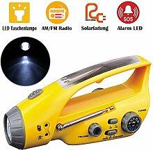 Wiederaufladbare Solar Notfall Taschenlampe Alarm Lampe Handkurbeln mit AM FM Radio Handyladegerät für Wandern Camping Notfälle Hurrikane (Gelb)