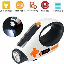 Wiederaufladbare Solar Notfall Taschenlampe Alarm Lampe Handkurbeln mit AM FM Radio Handyladegerät für Wandern Camping Notfälle Hurrikane (Weiß)