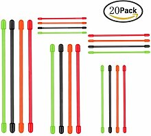 wiederverwendbar Gummi Gear Twist Krawatten, shineus Silikon Kabelbinder Twist Ties Gear Kabelbinder (20PCS 7,6cm, 4Inch6Zoll, 20,3cm, 30,5cm)