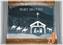WIEDERVERWENDBARE winterliche Fensterbilder weiß | Jesuskrippe mit Heiligen 3 Könige und Wegweiserstern | Weihnachten | Fensterdeko | konturgetanzt ohne transparenten Hintergrund (Jesuskrippe)