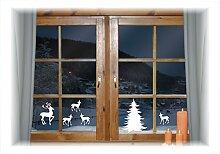 WIEDERVERWENDBARE winterliche Fensterbilder weiß | Winterwald mit Baum Hirsch und Rehkitz | Weihnachten | Fensterdeko | konturgetanzt ohne transparenten Hintergrund (Winterwald)