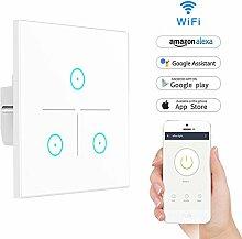 Wifi Smart Lichtschalter,LYASI gehärtetes Glas Touch-Screen WLAN Lichtschalter,Arbeit mit Alexa und Google Home,drahtlose Fernbedienung,Timing-Funktion,Überlastschutz,keine Nabe erforderlich(3 Weg)