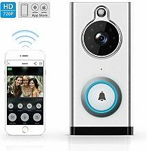 Wifi Video Funklingel, ELEPOWSTAR drahtlose Haus Türklingel 720p HD 2,4 Ghz Wi-Fi wasserdichte Video Türklingel mit PIR Bewegungssensor, Infrarot Nachtsicht, USB wiederaufladbar