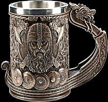 Wikinger Fantasy Bier-Krug - Drakkar bronziert |