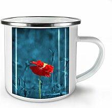 Wild Blume Foto Natur Weiß Emaille-Becher 10 oz | Wellcoda