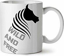 Wild Und Frei Weiß Pferd Gestalten NEU Weiß Tee Kaffe Keramik Tasse 11 oz   Wellcoda
