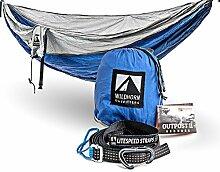 WILDHORN Outfitters Outpost Camping Hängematte mit verstellbarem Litespeed Cinch Schnalle Suspension System, silber/blue, Doppelbe