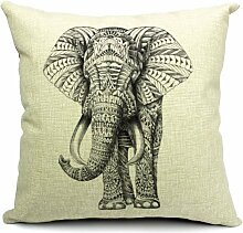 Wildlife Animals Elephant Printed Linen Cushion Cover by Poens Dream