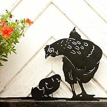 Wildlife Garden Silhouette Gartendeko Gartenfigur Henne