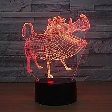 Wildschwein 3D Licht LED Nachtlicht Illusion