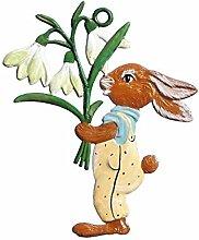 Wilhelm Schweizer Osterdekoration Anhänger aus Zinn, Hase mit Blumenstrauß