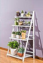 William 337 Blumenständer Holz mehrschichtige Blumenständer Klappregal Massivholz Balkon Wohnzimmer Blumentopf Rack Weiß ( größe : 4 layers 70cm )