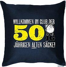 WILLKOMMEN IM CLUB DER 50 IG ... : Kissen mit Füllung - Witziges Zusatzkissen, 40x40 als Geschenkidee. Navy Blau