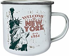 Willkommen in New York 1954 Retro, Zinn, Emaille