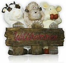 Willkommen Schild Garten Deko Kuh Schaf Schwein