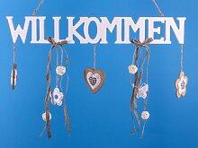 Willkommen - Tür Hänger aus Holz mit vielen Accessoires - 57cm breit - Landhaus