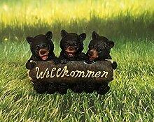 Willkommensschild Bären Trio Dekofigur Schild Gartendeko