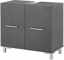 WILMES Badmöbel, Waschbecken Unterschrank, Badezimmerunterschrank, Holzwerkstoff, graphit melamin, 65 x 31.5 x 59.5 cm