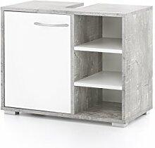 WILMES Badmöbel, Waschbecken Unterschrank, Badezimmerunterschrank, Holzwerkstoff, beton/weiß melamin dekor, 60 x 31 x 50.5 cm