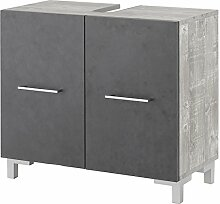 WILMES Badmöbel, Waschbecken Unterschrank, Badezimmerunterschrank, Holzwerkstoff, beton/graphit melamin, 65 x 31.5 x 59.5 cm