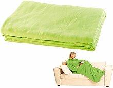 Wilson Gabor Decke mit Ärmeln: Fleece-Kuscheldecke mit Ärmeln, grün (Hausanzug-Decke)