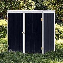 Wiltec Gartenschrank Holz Anthrazit Weiß 2 Türen