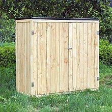 Wiltec Gartenschrank Holz Naturfarbe 2 Türen