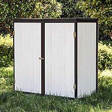 Wiltec Gartenschrank Holz Weiß Anthrazit 2 Türen
