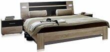 Wimex 751142 Bettanlage bestehend aus Bett 160 x 200 cm inklusive Beleuchtung und Nachtschrankpaar je zwei Schubkästen 42 x 40 x 38 cm, Eiche Sägerau Nachbildung, Absetzung Lavafarbig