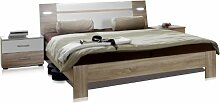 Wimex 753143 Bettanlage bestehend aus Bett 140 x 200 cm inklusive Beleuchtung und Nachtschrankpaar je zwei Schubkästen 42 x 40 x 38, eiche sägerau Nachbildung, Absetzung alpinweiß