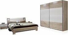 Wimex 753342 Schlafzimmer Set bestehend aus Schwebetürenschrank 225 x 210 x 65 cm, Bett 180 x 200 cm inklusive Beleuchtung und Nachtschrankpaar je zwei Schubkästen 42 x 40 x 38 cm, eiche sägerau Nachbildung, Absetzung alpinweiß