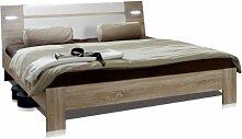 Wimex 753351 Bett 160 x 200 cm Liegefläche, Aufstellmaß 169 x 87 x 210 cm, inklusive Beleuchtung, eiche sägerau Nachbildung, Absetzung alpinweiß