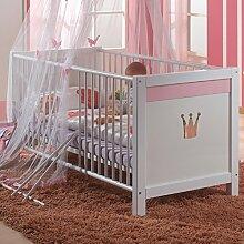 Wimex Babybett Sissi, Kinderbett, weiß/rosa 70x140