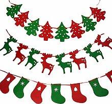 Wimpelkette/ Girlande, verschiedene weihnachtliche Design, Filz, Partydekoration, 3 Stück