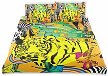 WINCAN Bettwäsche-Set, Muster, Zebra-Tiger,