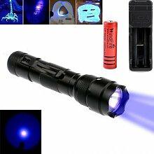 WINDFIRE WF-502B 1-Modus uv-ultraviolet CREE LED Blacklight Taschenlampe 18650Akku UV-UV-Schwarzlicht Taschenlampe Taschenlampe mit Funktionen Geld-Detektor, Lecksucher und cat-dog-pet Urin Detektor (Akku und USB Ladegerät im Lieferumfang enthalten)