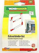 WINDHAGER 03683 - Insektenschutz - Eckverbinder Set - für Alu Steckrahmen-System - 25 mm - braun